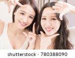 two beauty woman making frame... | Shutterstock . vector #780388090