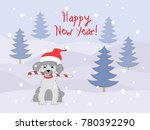 new year card with cartoon... | Shutterstock .eps vector #780392290