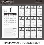 2018 calendar planner design. | Shutterstock .eps vector #780398560