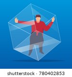 people trapped in the cube | Shutterstock .eps vector #780402853
