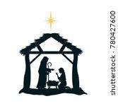 holy family silhouette in... | Shutterstock .eps vector #780427600