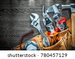 set of leather tool belt with... | Shutterstock . vector #780457129
