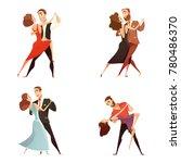 dance pair retro cartoon set of ... | Shutterstock . vector #780486370