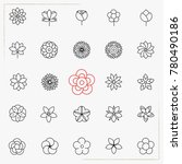flower line icons set | Shutterstock .eps vector #780490186