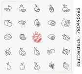 berries and fruits line icons... | Shutterstock .eps vector #780490363