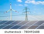 solar panels against wind...   Shutterstock . vector #780492688
