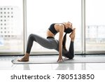 young woman practicing yoga... | Shutterstock . vector #780513850