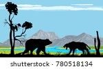 bear and tiger silhouettes ... | Shutterstock .eps vector #780518134