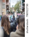 Small photo of BARCELONA - OCTOBER 1: Unidentified people wating to vote in referendum on Catalonia independence, in defiance of the Spanish government, on October 1, 2017, in Barcelona, Spain.