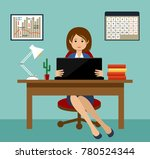 business woman working at a... | Shutterstock .eps vector #780524344