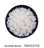 Rice In Black Bowl On White...