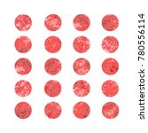 set of red watercolor dots ... | Shutterstock .eps vector #780556114