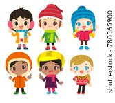 vector set of cute girl... | Shutterstock .eps vector #780565900