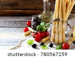 bread sticks with rosemary ...   Shutterstock . vector #780567259