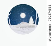 night forest with snow and... | Shutterstock . vector #780574558