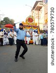 Small photo of HYDERABAD,INDIA-DECEMBER 23: youth show Gatka sikh martial art form in Nagar Keertan celebrating birth anniversary of Guru Gobind singh by Sikh community on December 23,2017 in Hyderabad