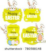 happy easter cards. cute bunny.  | Shutterstock . vector #780588148
