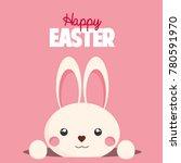 happy easter card. cute bunny.  | Shutterstock . vector #780591970