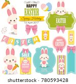 happy easter banners. cute... | Shutterstock . vector #780593428