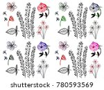 drawing beautiful flower and... | Shutterstock . vector #780593569