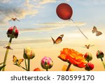 butterflies fly over colorful... | Shutterstock . vector #780599170