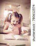 beautiful little girl drawing