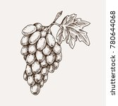 grape branch hand drawn... | Shutterstock .eps vector #780644068
