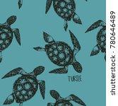 Turtle Pattern On Blue...