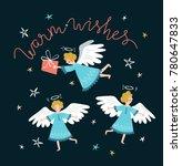 set of cute flying christmas... | Shutterstock .eps vector #780647833