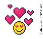 cute pixel smiley emoticon in... | Shutterstock .eps vector #780648580