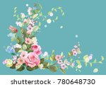 angled frame with roses  spring ... | Shutterstock .eps vector #780648730