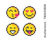set of cute pixel smiley... | Shutterstock .eps vector #780654808