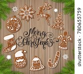 set of christmas gingerbread... | Shutterstock .eps vector #780655759