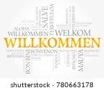 willkommen  welcome in german.... | Shutterstock . vector #780663178