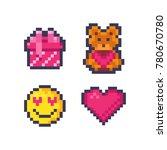 set of cute pixel valentine... | Shutterstock .eps vector #780670780