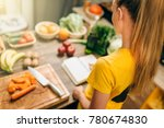 housewife cooking on the... | Shutterstock . vector #780674830
