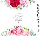Stock vector floral vector banner frame with pink rose hydrangea camellia red dahlia eucalyptus ranunculus 780682588