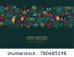merry christmas happy new year... | Shutterstock . vector #780685198