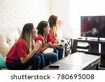 group of three soccer fans... | Shutterstock . vector #780695008