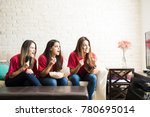 group of three latin young... | Shutterstock . vector #780695014