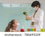 scientists test lab chemicals | Shutterstock . vector #780695239