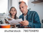 father and daughter sitting at... | Shutterstock . vector #780704890