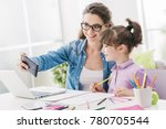 cute girl and her young mother... | Shutterstock . vector #780705544