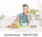 smiling happy woman having a...   Shutterstock . vector #780707239