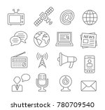 media line icons on white | Shutterstock . vector #780709540