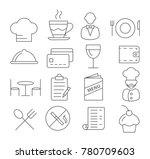 gray restaurant line icons on... | Shutterstock . vector #780709603