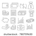gray money line icons on white... | Shutterstock . vector #780709630