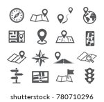 navigation and map icons with... | Shutterstock . vector #780710296