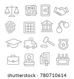 gray law line icons set on...   Shutterstock . vector #780710614