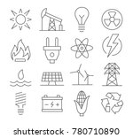 energy line icons set on white... | Shutterstock . vector #780710890